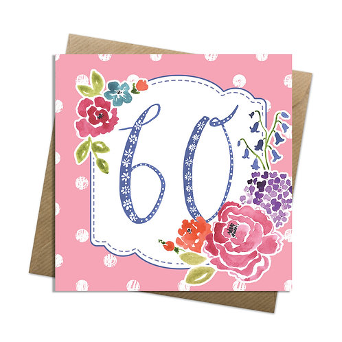 Floral Sixty Card