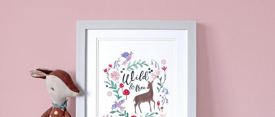 Personalised Woodland Deer Print