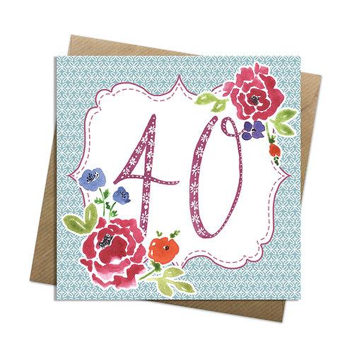 Floral Forty Card