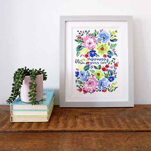 Happiness Grows Here Print