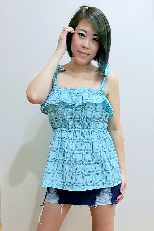 #BM10 Self-tied Strap Blouse In Blue