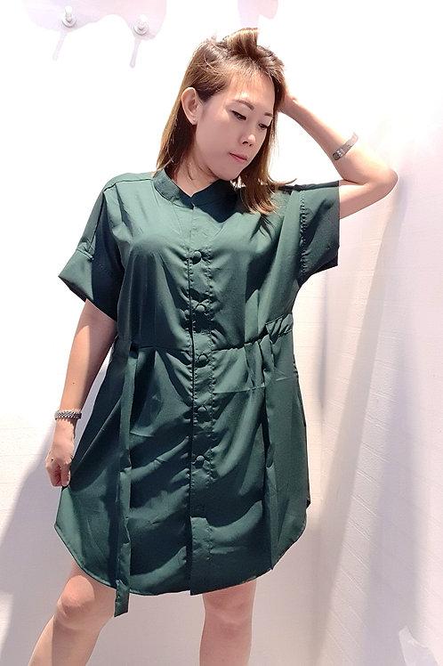 Plus Size Drawstring Tunic Top In Green
