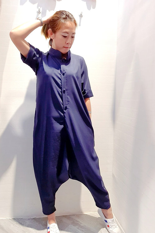 Solid Colour Mandarin Collar Baggy Jumpsuits In Blue