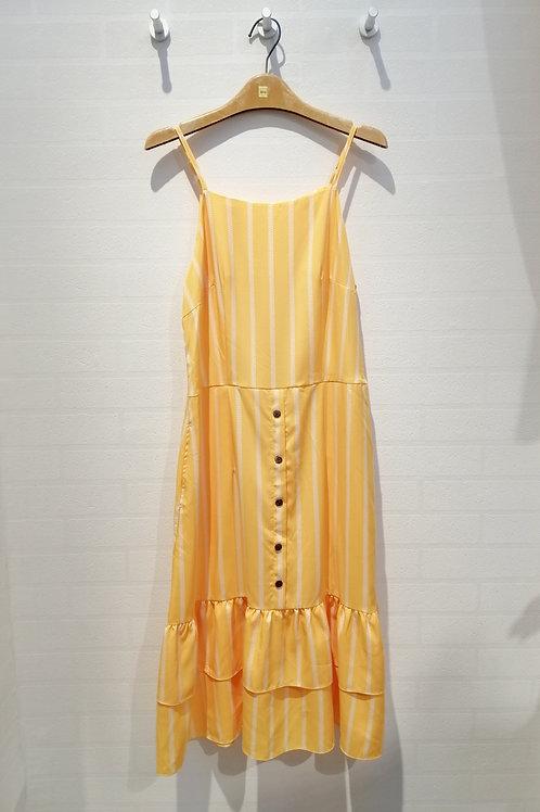 Plus Size Drop Waist Midi Spag Dress In Yellow