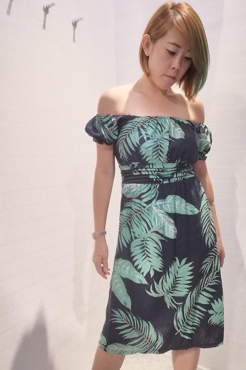 Baby Doll Tropical Print Dress In Dark Blue