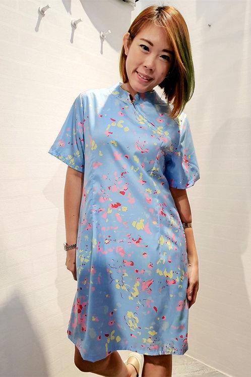 Modern Abstract Print Zip Cheongsam Dress In Blue
