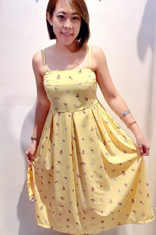 #057A Ice Cream Midi Dress In Yellow