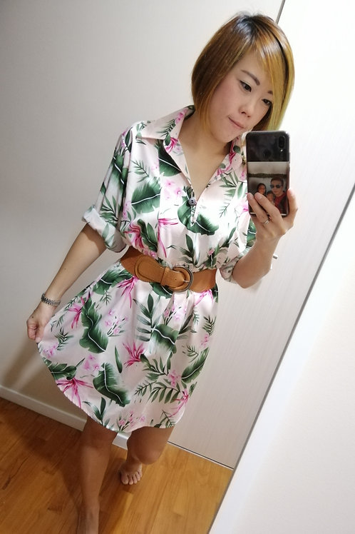 Oversize Floral Tunic Top In Pink