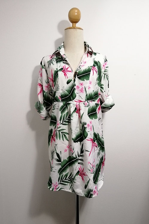 Oversize Floral Tunic Top In White