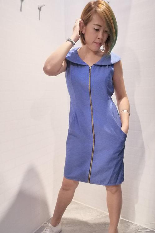 Peter Pan Collar Zipper Dress In Blue