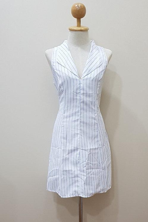 V-neck Fit and Flare Dress in Big Blue Stripe