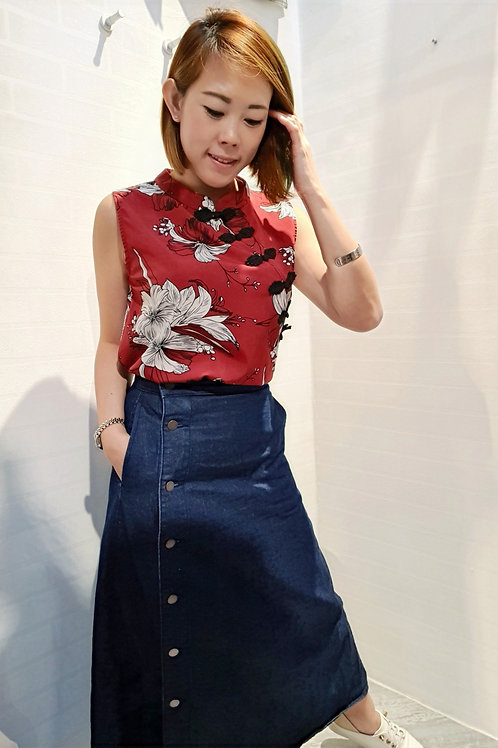 Modern Floral Cheongsam Top in Red
