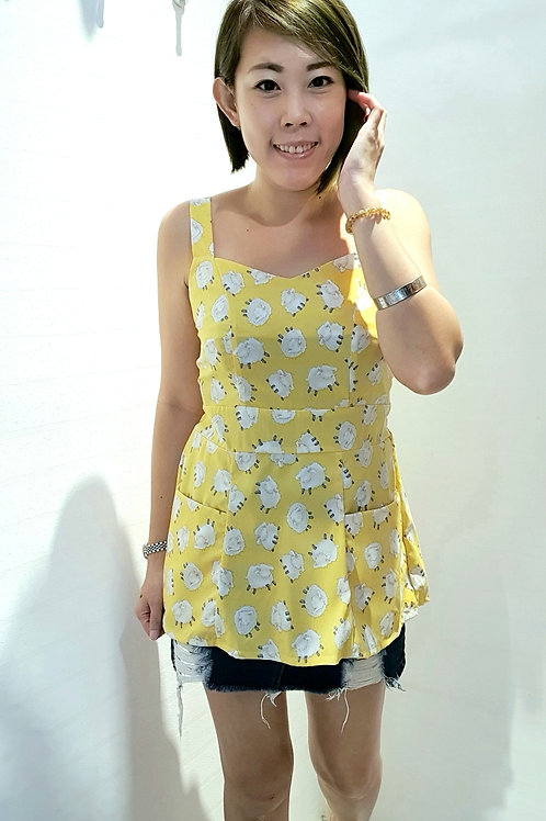 #086 Little Lamb Blouse In Yellow