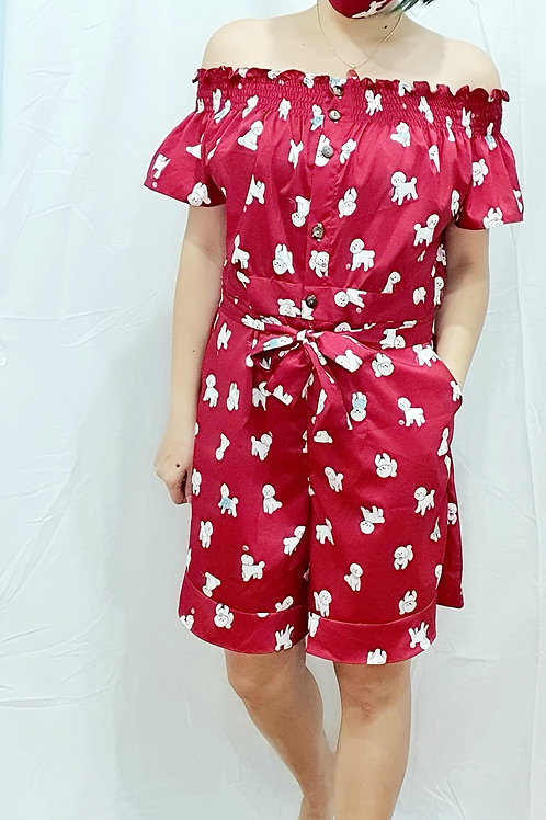 #NK086J  2 WAY PUPPY PRINTED ROMPER  IN RED