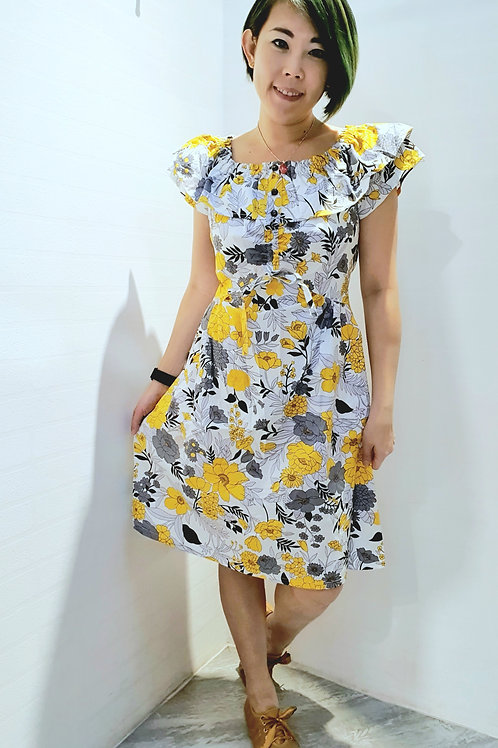 #BM028D MULTI WAY FLORAL DRESS  IN YELLOW