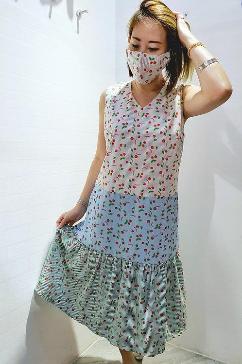 #NK0101 LAYERED RUFFLE HEM CHERRY DRESS