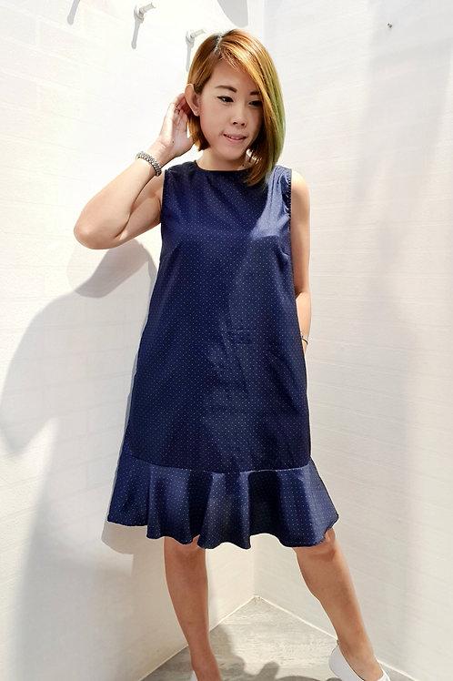 Polkadot Drop Waist Dress In Blue
