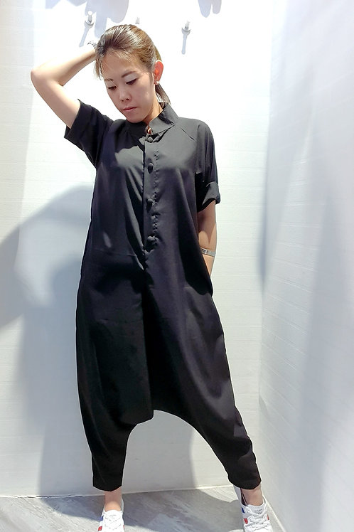 Solid Colour Mandarin Collar Baggy Jumpsuits In Black