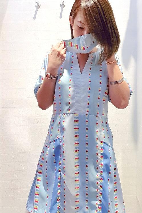#082D Batwing Sleeve Dress In Blue
