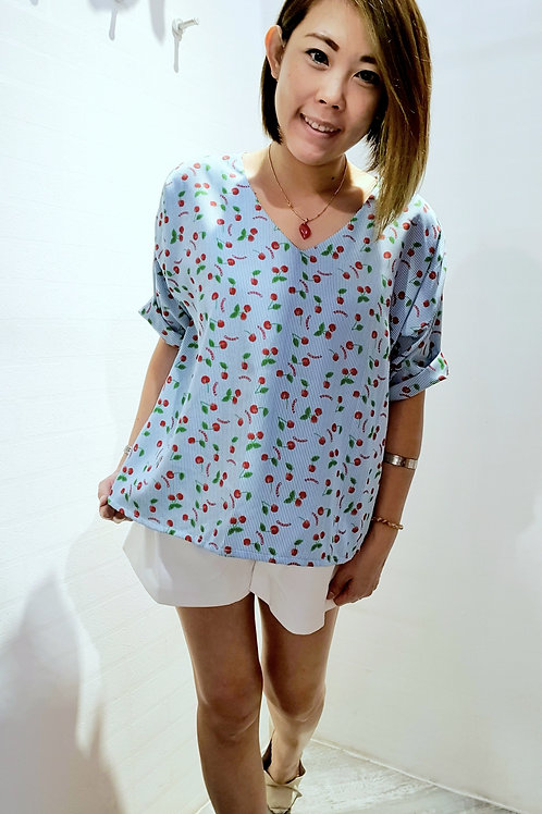 #NK0108  CHERRY PRINTED RIBBON TOP IN BLUE