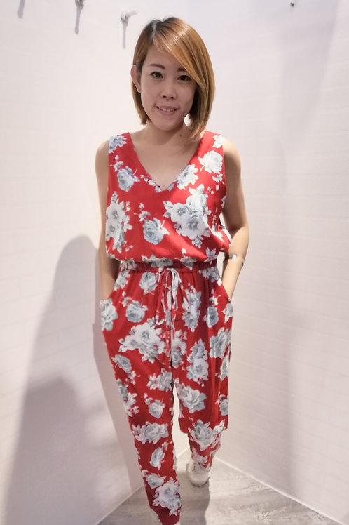 Floral V-neck Jumpsuits in Red