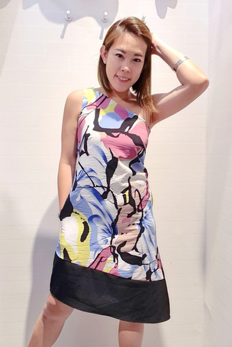 Toga Blueish Abstract Printed Dress