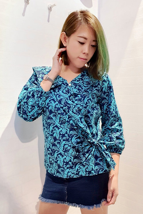 Floral Wrapped 3/4 Sleeve Top In Turquoise