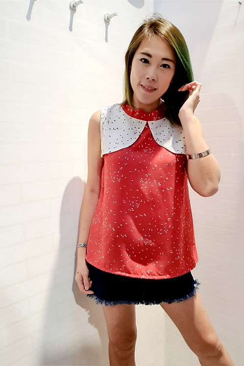 Floral Two Tone Modern Cheongsam Blouse In Red