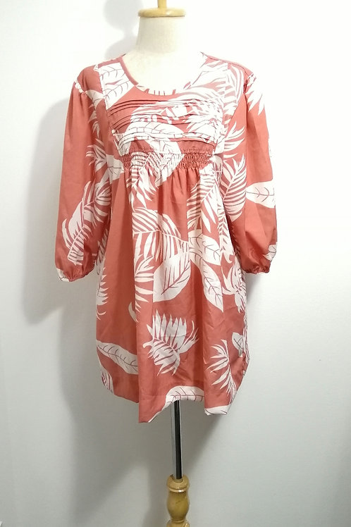 Plus Size Floral Babydoll Tunic Top In Pink