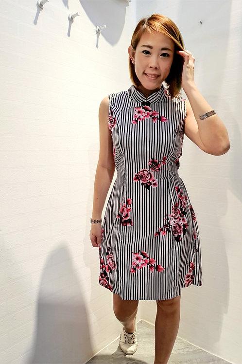 Rosy Cheongsam Dress In Red