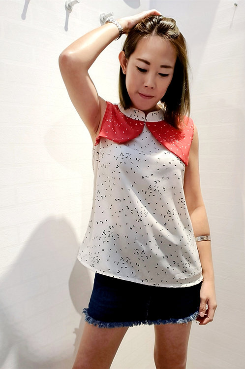 Floral Two Tone Modern Cheongsam Blouse In White