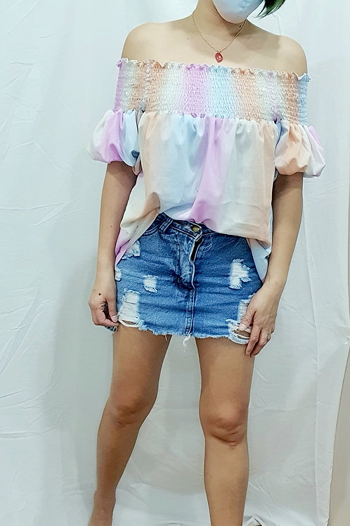 #NK105 BUBBLE SLEEVE OFF SHOULDER TOP IN PINK