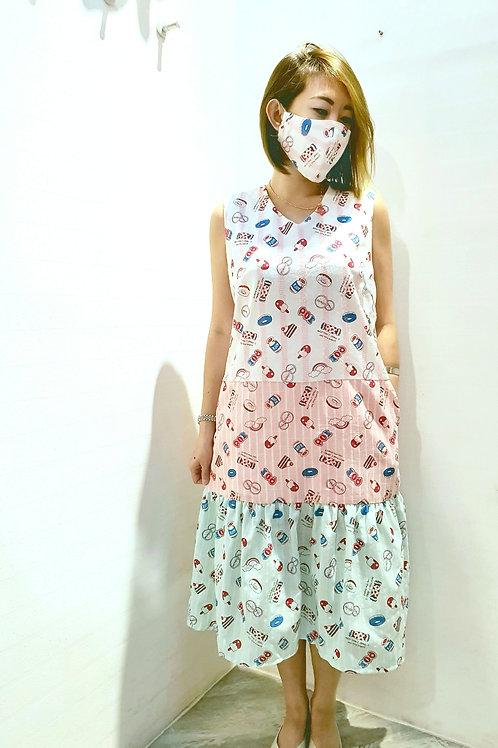 #NK0101 LAYERED RUFFLE HEM DRESS