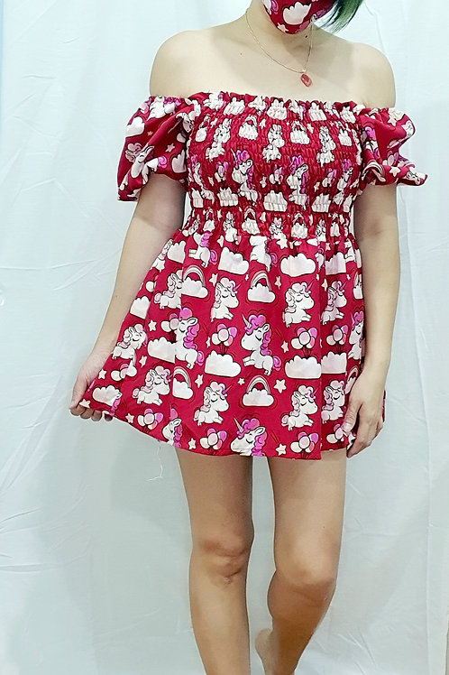 #NK061 BABYDOLL UNICORN TOP IN RED