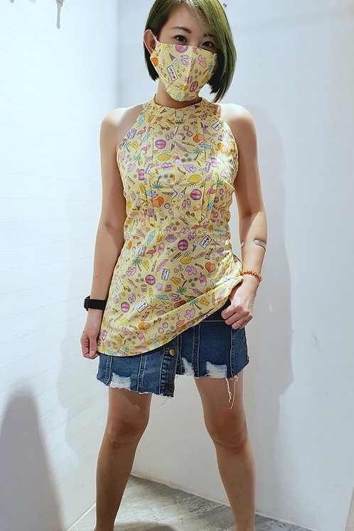#BM021 DOUBLE T BACK  TOP IN YELLOW