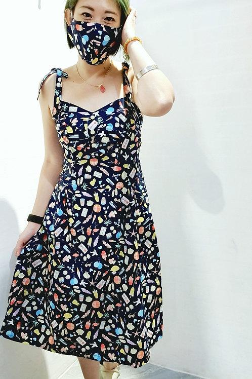 #BM015D FLORAL RUFFLES BABYDOLL  DRESS IN NAVY