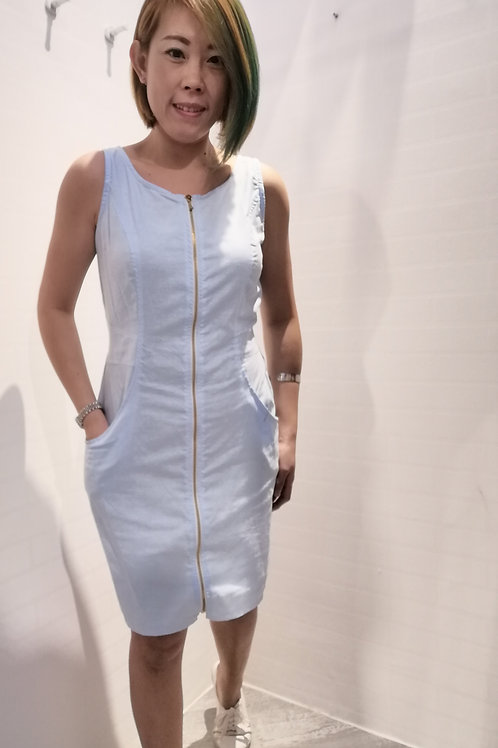 Zipper Front Soft Denim Dress In Sky Blue
