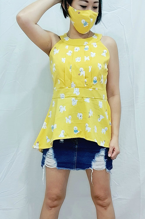 #NK080 POODLE PRINTED ASYMMETRICAL HALTER IN YELLOW