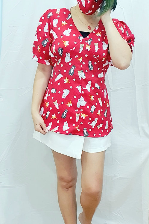 #NK075 CAT PRINTED PUFF SLEEVE BLOUSE IN RED