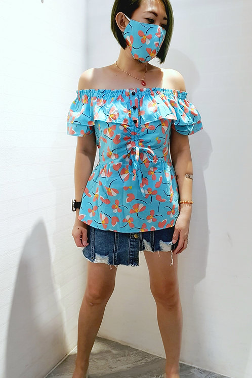 #BM028 MULTI WAY FLORAL BLOUSE  IN BLUE