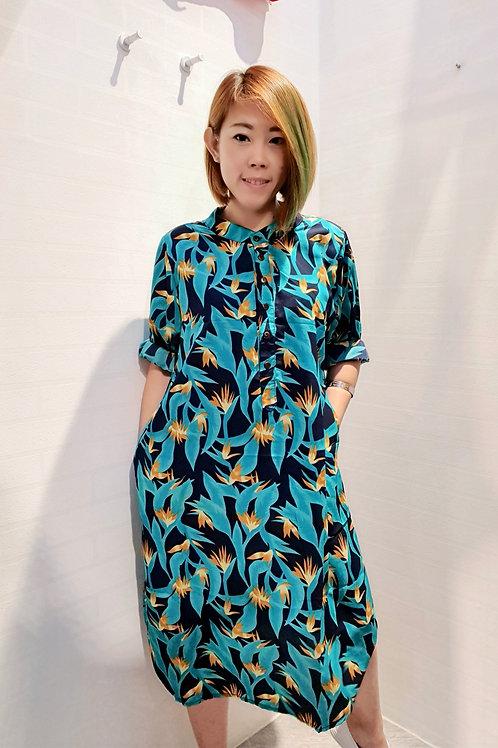 Floral Mandarin Collar Dress In Green