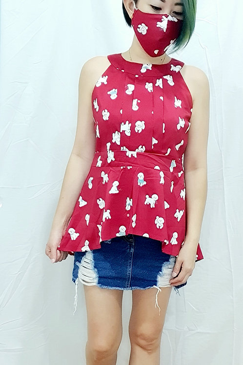#NK080 POODLE PRINTED ASYMMETRICAL HALTER IN RED
