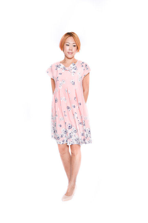 Floral Babydoll Dress In Pink