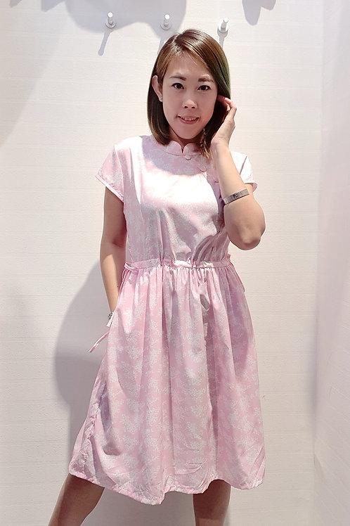 Floral Cheongsam Drawstring Dress In Pink