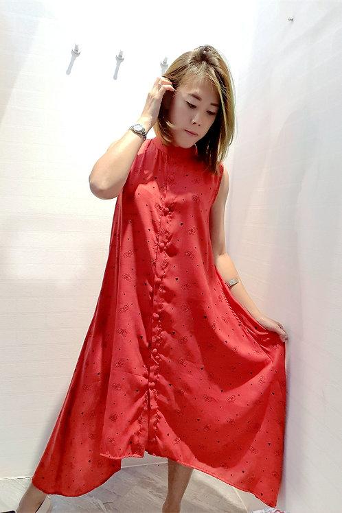 Mandarin Front Short Back Long Cat Printed Dress In Red