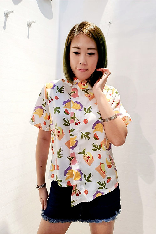 Fruity High Round Collar Blouse In White