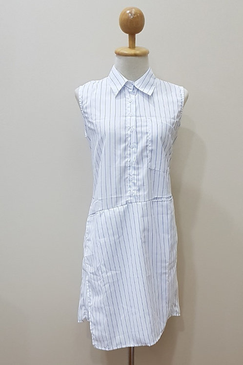 Symetric Shirt Dress In Big Blue Stripes