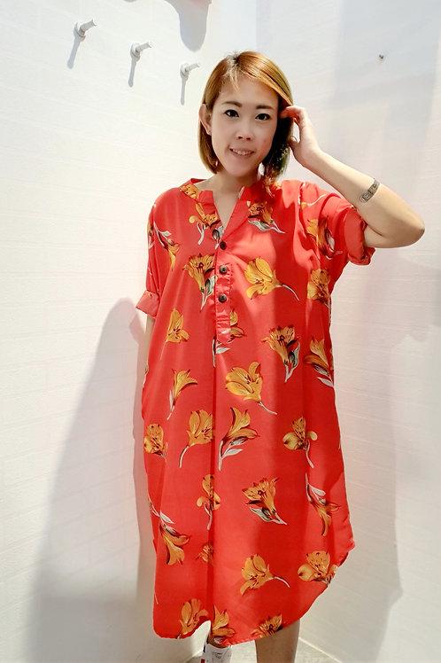 Floral Mandarin V-neck Dress In Red