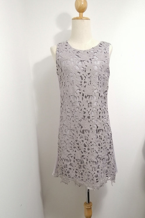 Eyelet Lace Shift Dress In Grey