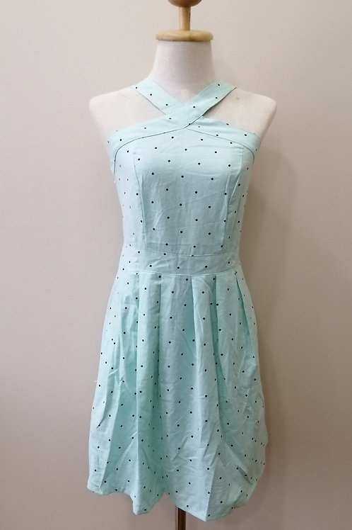 Cross Neck Polka dot Dress In Turqoise